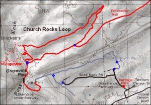 Church Rocks Loop Map - bike rentals st. george