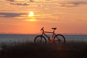 sunset with bicycle